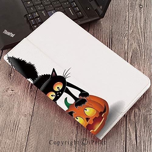 for Samsung Galaxy Tab S3 9.7 T820 T825 Tablet Smart Cover Protective,Halloween Decorations,Black Cat on Pumpkin Spooky Cartoon Characters Halloween Humor Art,Orange -