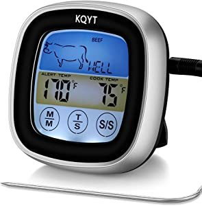 KQYT Digital Cooking Food Meat Thermometer Meat Thermometer for Grill Smoker Kitchen Candy Oven BBQ with Smart Cooking Timer Mode and Large LCD Backlight Display