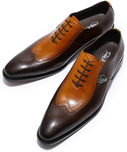 Men/'s Stylish Pointed Toe Wing Tip Leather Brogue Oxford Formal Dress Shoes