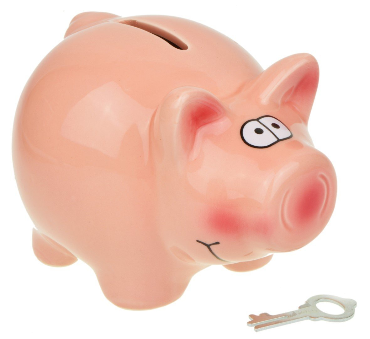 Ceramic Piggy Bank Money Box-with Key Lock (Medium) Piquaboo