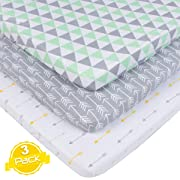 BaeBae Goods Pack n Play Playard Sheet Set | 3 Pack | 100% Super Soft Jersey Knit Cotton (150 GSM) | Portable Mini Crib Mattress Fitted Sheets for Boys & Girls