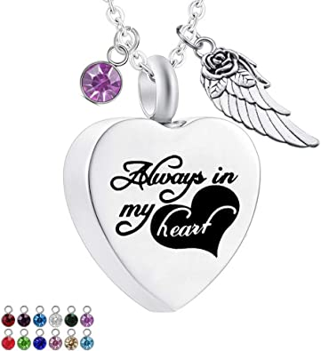 Urn Necklaces for Ashes Always in My Heart Ashes Necklace Cremation Jewelry Keepsake Holder Memorial Necklace