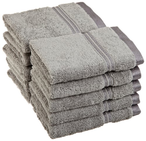Superior Luxurious Soft Hotel & Spa Quality Washcloth Face Towel Set of 10, Made of 100% Premium Long-Staple Combed Cotton - Silver, 13'' x 13'' each by Superior