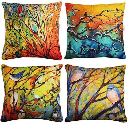18 Bird Tree Linen Pillowcase Cushion Cover Waist Throw Home Outdoor Decoration Home Décor Home Décor Pillows