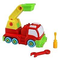 TONZE Jeu Construction Voiture Camion de Pompier Pelleteuse Jouet Vehicule Enfants