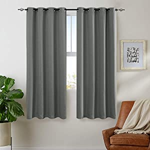 jinchan Textured Linen Curtain Panels Bedroom Drapes Living Room Drapes Thermal Insulated Room Darkening Window Treatment Set, Grommet Top (2 Panels, L72-Inch, Grey)