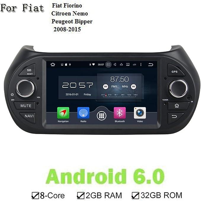 Nuevo Android 6.0 1 DIN coche estéreo Auto Radio 8 Core coche Jefe Unidad GPS Navi para Fiat Fiorino Citroen Nemo Peugeot Bipper 2008 – 2015: Amazon.es: Electrónica