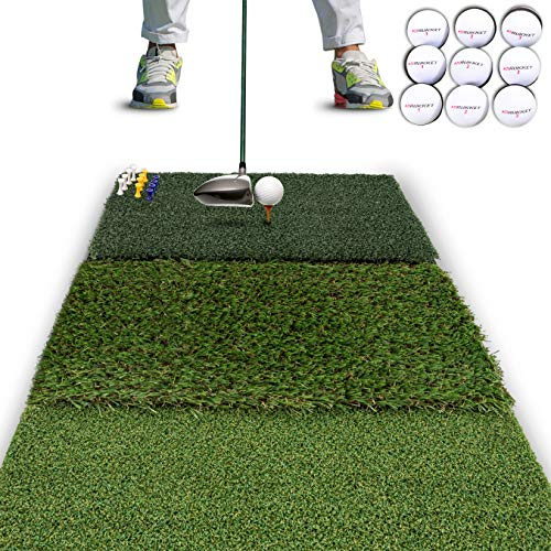 Rukket Tri-Turf Golf Hitting Mat Attack | Portable Driving, Chipping, Training Aids for Backyard with Adjustable Tees and 9 Foam Practice Balls (Standard (25