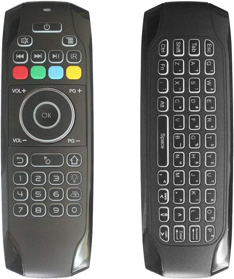 Color: Backlight Russian Calvas G7 2.4G Backlit Wireless Air Mouse with Keyboard 6-Axis Gyro Smart Remote Control For X96 Tv box Russian//English Double Sided
