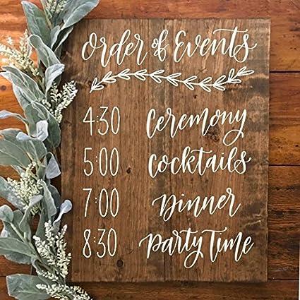 Order Of Events Wedding.Amazon Com Order Of Events Wedding Ceremony Wood Sign Wedding Decor