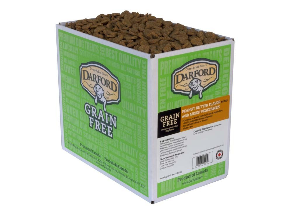 Grain Free Peanut Butter with Mixed Veggies Recipe Minis Heart Dog Treats, 15 lb by Darford