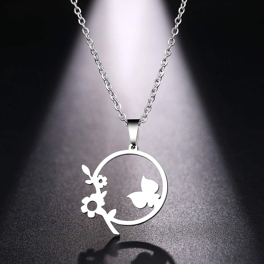 Stainless Steel Necklace For Women Man Cute Flowers And Grass Gold And Silver Color Pendant Necklace Engagement Jewelry