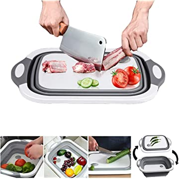 Barabum Multi-function Dish Tub Sink 3 in 1 Portable Folding Cutting Board Drain Basket Kitchen Cutting Board Tool for Cutting Vegetables and Fruits Outdoor Travel Camping (Gray)