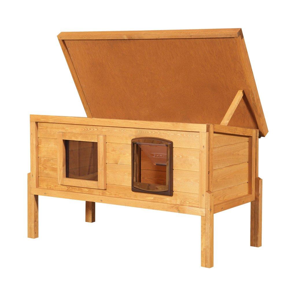 Caseta exterior para gatos con calefacción, ventana y puerta: Amazon.es: Productos para mascotas