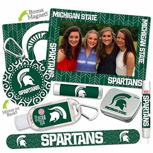 Michigan State Spartans—DELUXE Variety Set (Nail File, Mint Tin, Mini Mirror, Magnet Frame, Lip Shimmer, Lip Balm, Sanitizer). NCAA gifts, stocking stuffers. Only from Worthy. (Pick Ncaa Guaranteed Basketball)