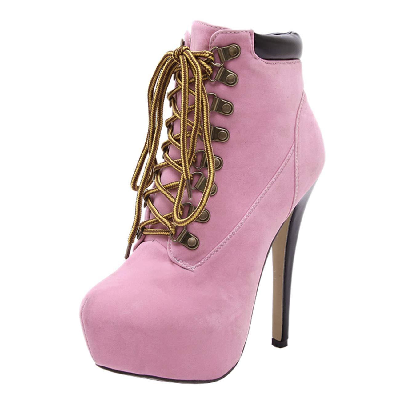 Qiusa Damen Damen Damen Runde-Toe-Plattform Stiletto Zip Schnür Stiefeletten (Farbe   Rosa Größe   7 UK) 7a2054