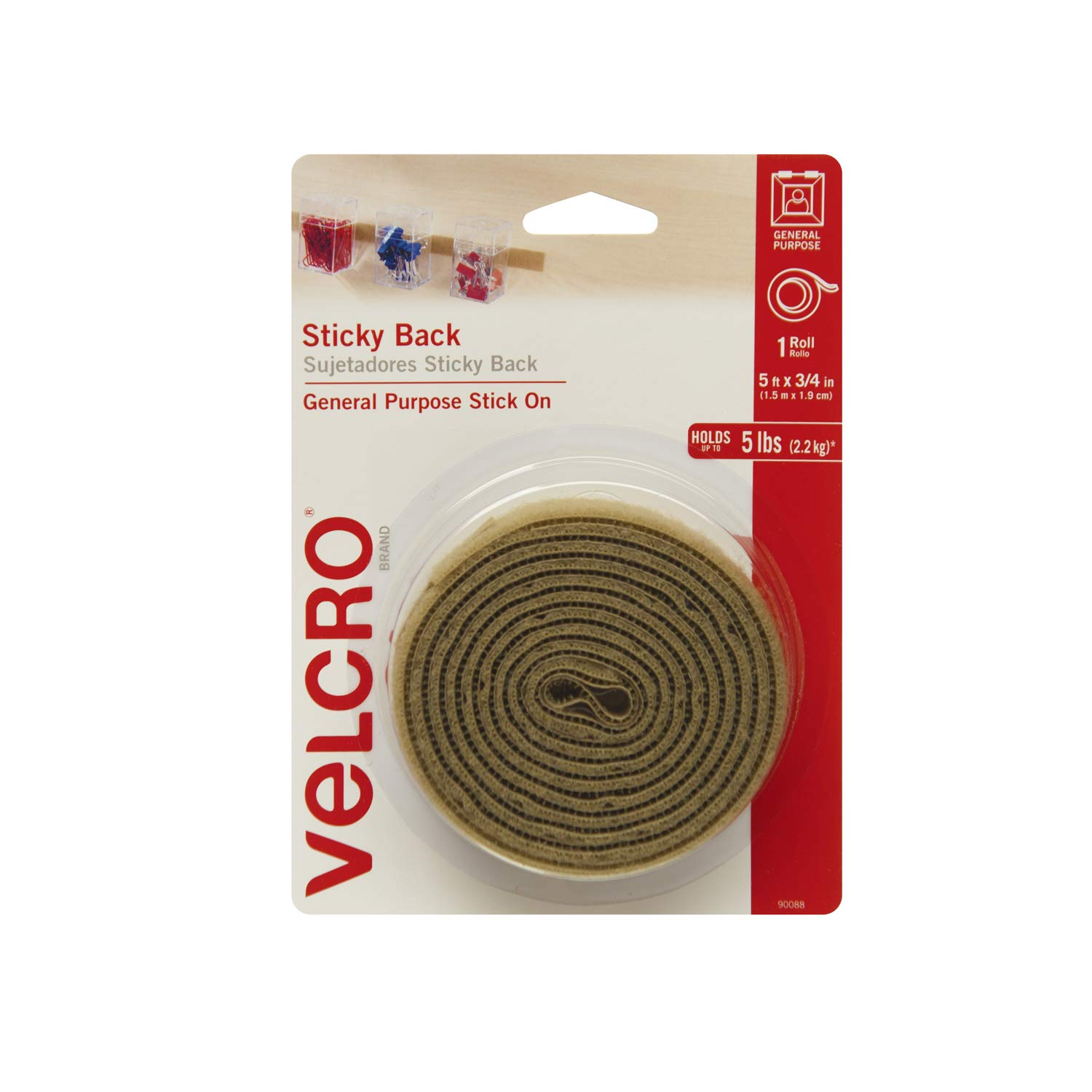 Velcro(r) Brand Fasteners 3/4-inch x 5 ft Sticky Back Tape, Beige 90088