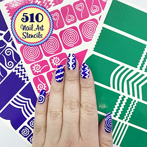 510 Vinyl - 510 Nail Art Stencils Vinyl - 22 Different Shapes: Big Hearts, ZigZag, French Tip & More Adhesives Stripe Guides Patterns Designs 3 Sheets Supplies Kit Sticker Tape Decal Foil Craft Gift Teen Girl