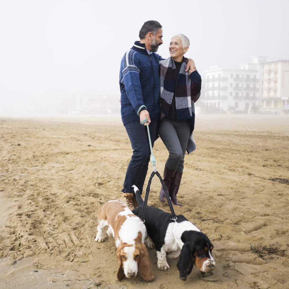 SlowTon Correas para Perros para 2 Perros sin enredos Correa Doble para Perros Entrenamiento para Caminar Rotaci/ón de 360 /° Longitud Reflectante Ajustable Splitter de Plomo para Dos Perros