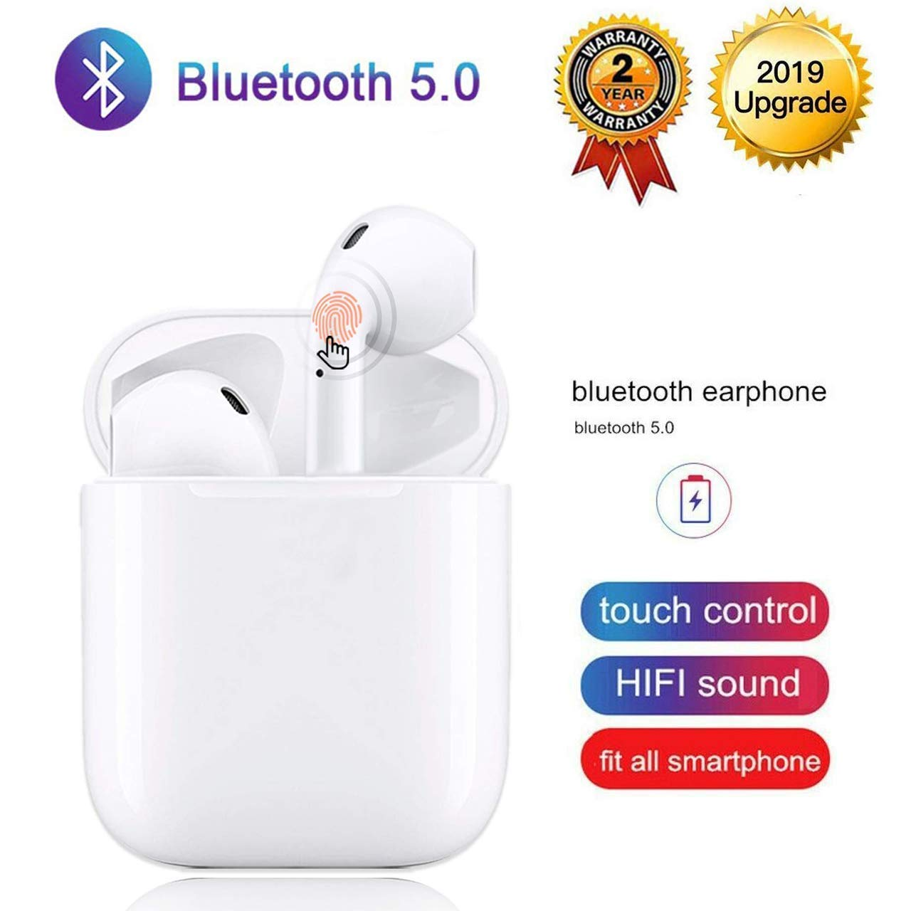 Bluetooth 5.0 Wireless Earbuds Noise Canceling Sports 3D Stereo Headphones with 24Hr Playtime IPX5 Waterproof Pop-ups Auto Pairing Built-in Binaural Mic Headset for Android iPhone Apple Airpods