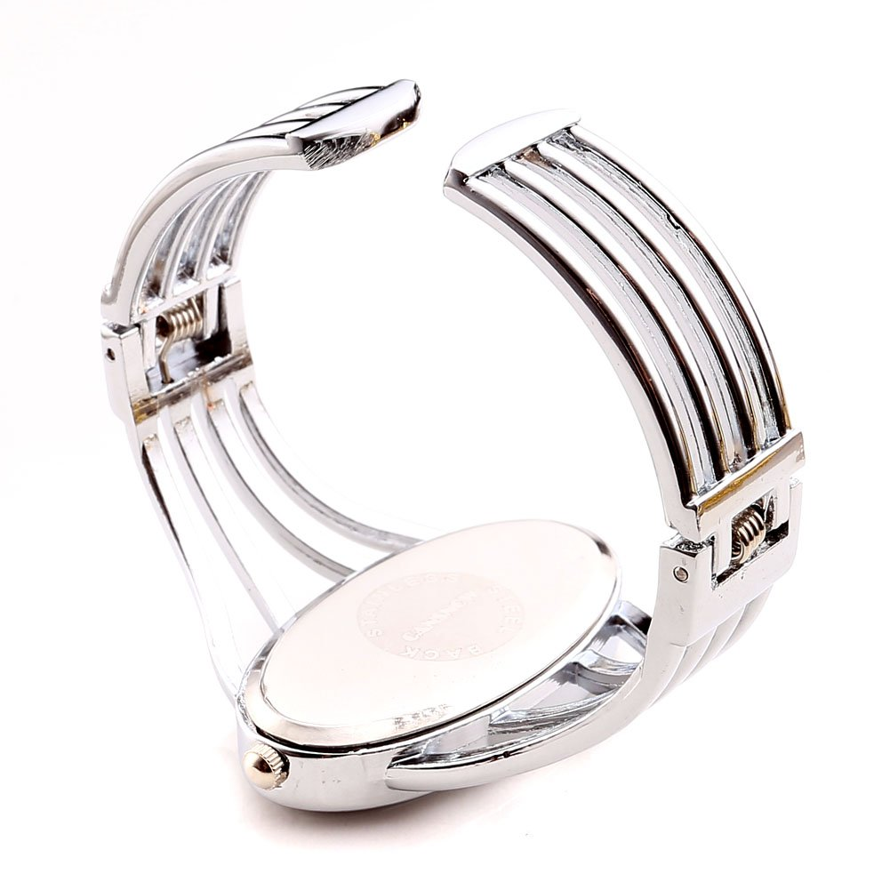 JSDDE Women Elegant Oval Silver Tone Bangle Cuff Bracelet Dress Watch 6\'\'-Thanksgiving Christmas Gift