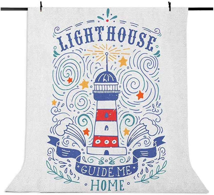 9x16 FT Lighthouse Vinyl Photography Backdrop,Vintage Hand Drawn Lighthouse Print Stars Waves Branches Lettering Background for Baby Birthday Party Wedding Studio Props Photography