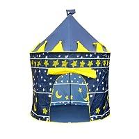 Tente de Jeu pour Enfants Princesse Pop Up Chateau Jouet Tente Camping Abri de Plein Air Vestiaire Extérieure Intérieure Portable - Bleu / Rose (Bleu)