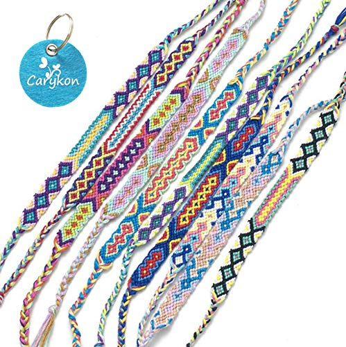 Carykon 12 PCS Vacation Patterns Nepal Woven Friendship Bracelets