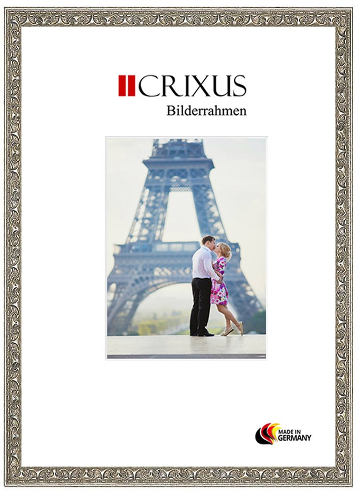 CRIXUS Crixus30 Marco de Fotos de Madera SÓLIDA para 87 x 31 cm Fotos, Color: Plata Relieve, con Vidrio acrílico antirreflectante (1mm), Ancho del Marco: 30mm, Dimensiones externas: 91,8 x 35,8 cm