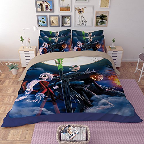 Lotus Karen Microfiber Polyester 3D Bedding Sets,Marilyn Monroe,Star Wars,nightmare before christmas,Wolverine,Iron Man,Captain America,1Duve Cover,1Flat Sheet,2Pillowcases Nightmare Before Christmas Comforters