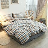 Checked Pattern Bedding Sets - MeMoreCool 100% Washed Cotton 5 Pieces Reactive Printing YKK Hidden Zipper Multiple Optional Twin