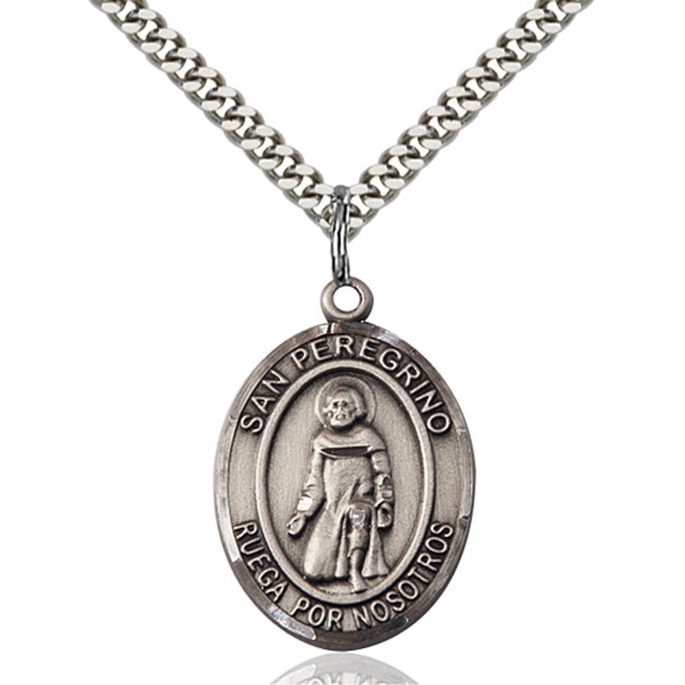 Bonyak Jewelry San Peregrino Hand-Crafted Oval Medal Pendant in Sterling Silver