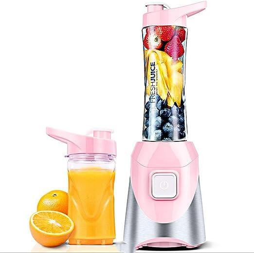 Mini juguera portátil de múltiples funciones del extractor del hogar de la licuadora para las bebidas sanas, taza eléctrica de la fruta Juicer, azul / rosa (Color : Pink) : Amazon.es
