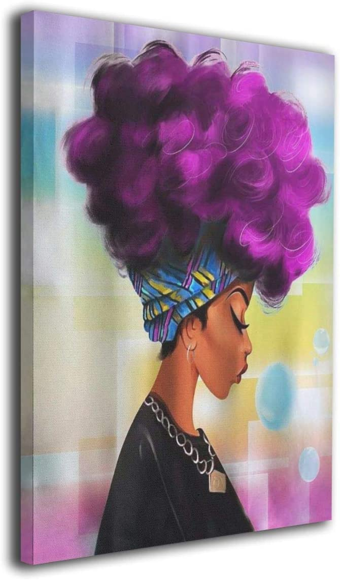 African Women With Purple Hair Artwork Canvas Prints Black Woman Picture For Living Room Bathroom Poster Painting Home Decor Framed 12x16 Inch
