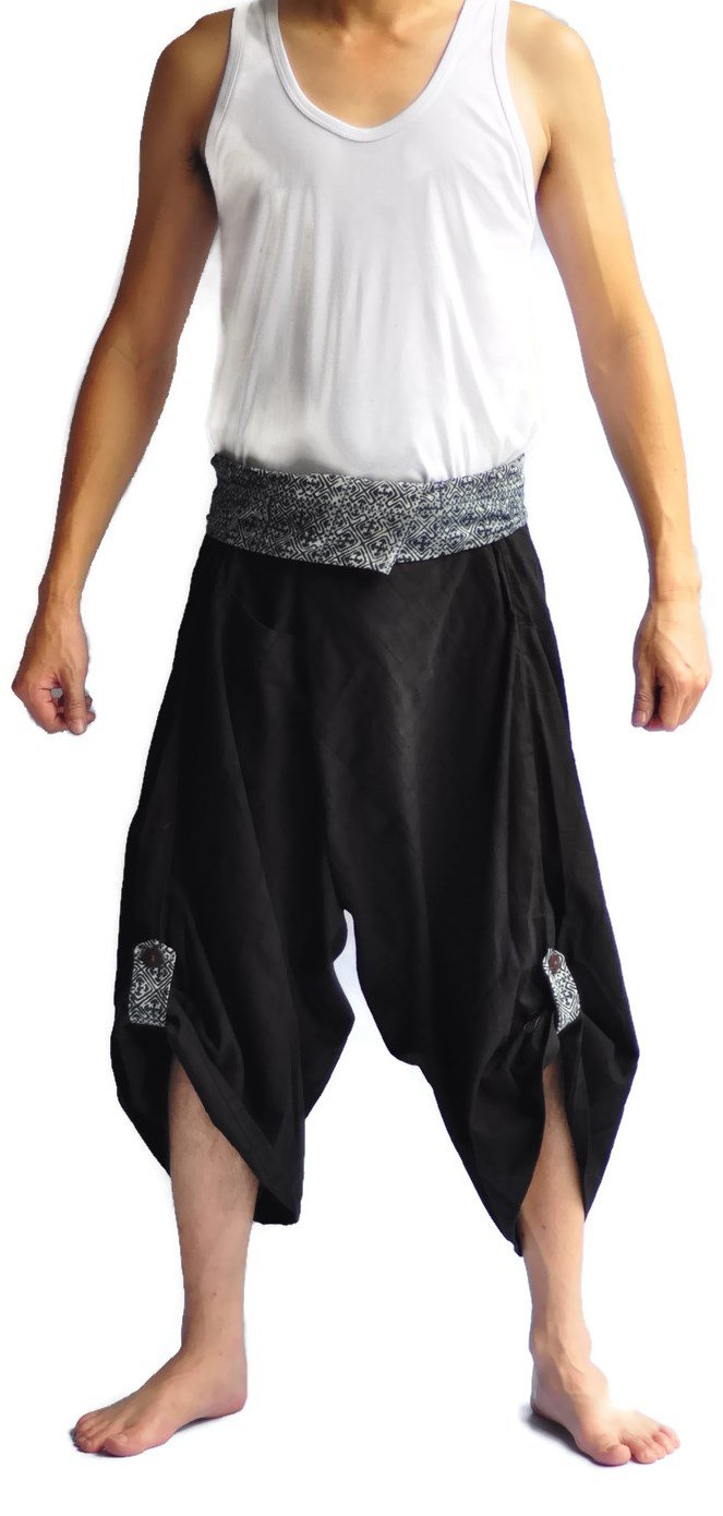 Siam Trendy Men's Japanese Style Pants One Size All Black (All Black) (black)
