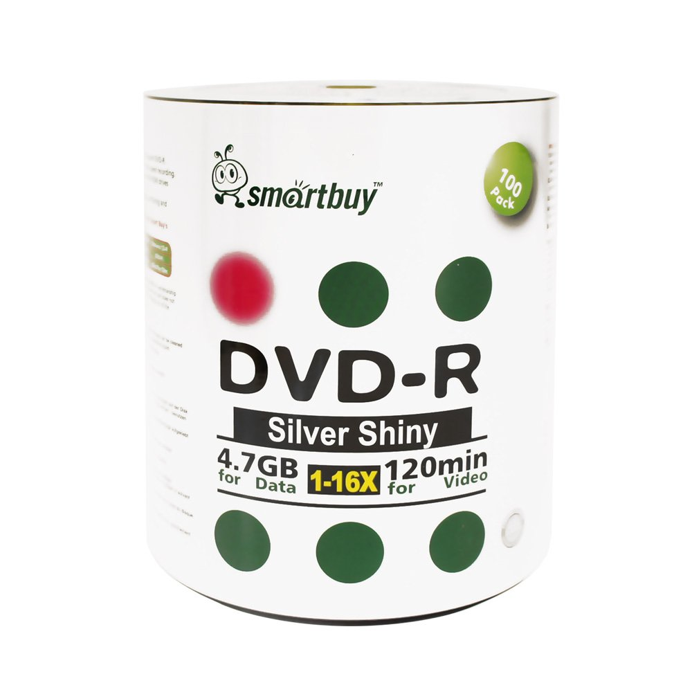 Smart Buy 500 Pack DVD-r 4.7gb 16x Shiny Silver Blank Data Video Movie Recordable Media Disc, 500 Disc 500pk by Smart Buy (Image #1)