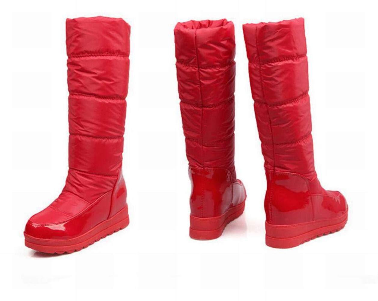IG Damenstiefel - Winter Warme Anti-Ski-Stiefel Stiefel Erhöhen Ritter Stiefel 34-40 rot 38