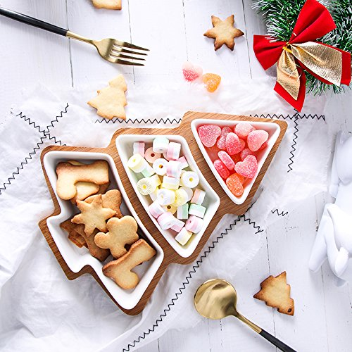 Christmas Serving Dishes (ROSE CREATE 10.8 Inches Snack Appetizer Trays Set, Dessert Serving Dishes, Snack Platter, 3 pcs Removable White Porcelain Plates with Bamboo Tree Tray)