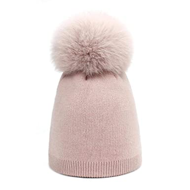 Children Girl Pom Pom Beanie Warm Knitted Bobble Kids Fur Pom Pom Hat Children Real Fox