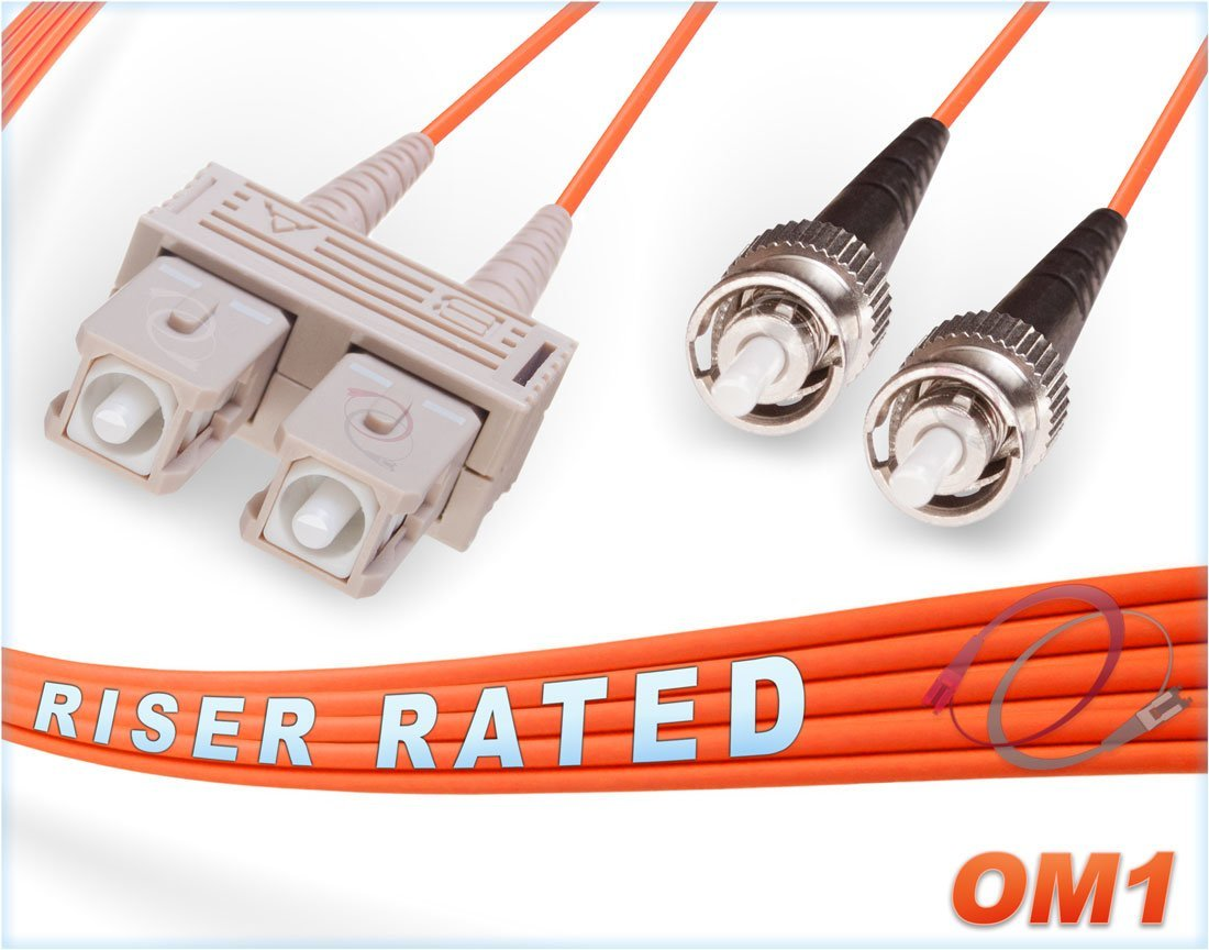 OM1 SC ST Duplex Fiber Patch Cable 62.5/125 Multimode - 40 Meter