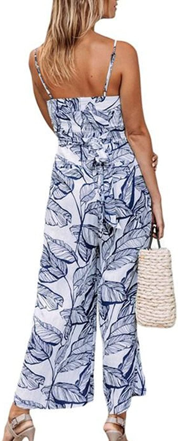 KYLEON Womens Jumpsuits Rompers Sleeveless Striped V Neck Bandage Loose Summer Casual Wide Leg Pants Playsuits Outfit