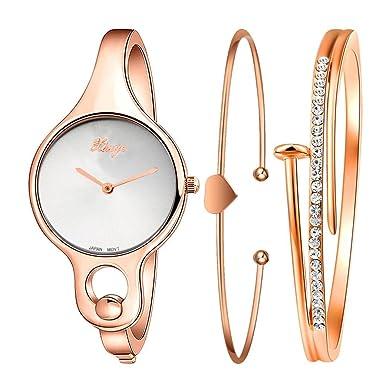 xinge 3 juegos Mujeres Rhinestone Oro Rosa Relojes de pulsera de aleación de pantalla analógica y