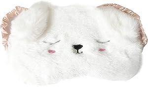 Monai Cute 3D Sleep Mask Plush Animal Sleeping Home Eye Cover for Women Girls Kids (WHITEDOG)