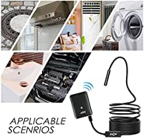 10M AQV Wireless Borescope Inspection Camera 2.0 Megapixels HD Waterproof Snake Camera with 6 Adjustable LED Light for Android//iOS Smartphone,iPhone,Samsung Galaxy,Tablet,PC WiFi Endoscope