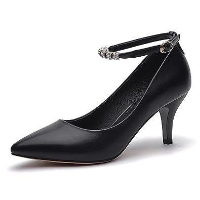 f53680c9af7400 Frauen Spitzen High Heels Feine Ferse Schnallen Schwarze Arbeitsschuhe  Weiße Hochzeitsschuhe Einfache Einfachheit
