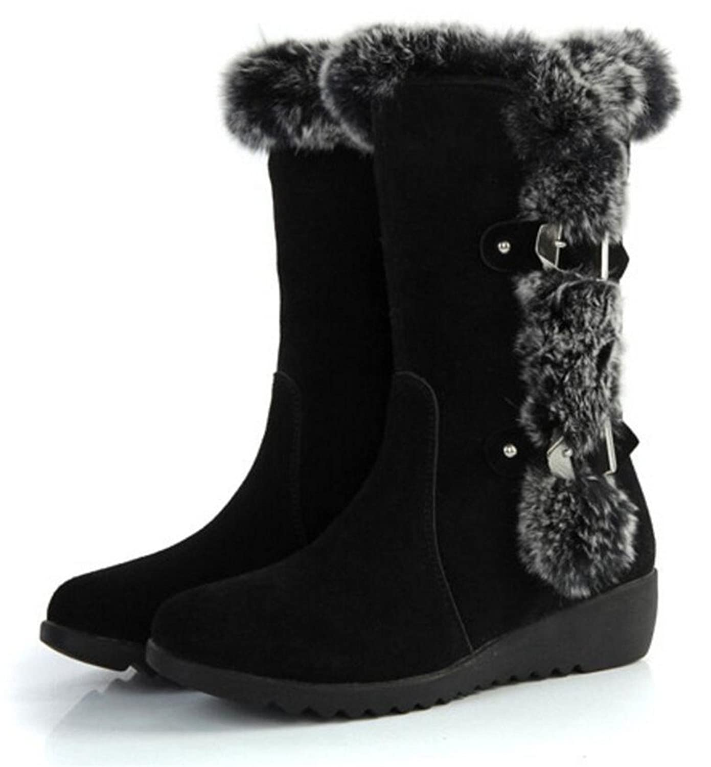 ACE SHOCK Women's Winter Mid Calf Rabbit Faux Fur Casual Snow Boots Shoes