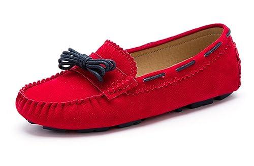 SUNROLAN Charlene Mujer de Piel Sintética Mocasines. Apartamentos Scalloped casa Tipo Mocasín Zapatos: Amazon.es: Zapatos y complementos