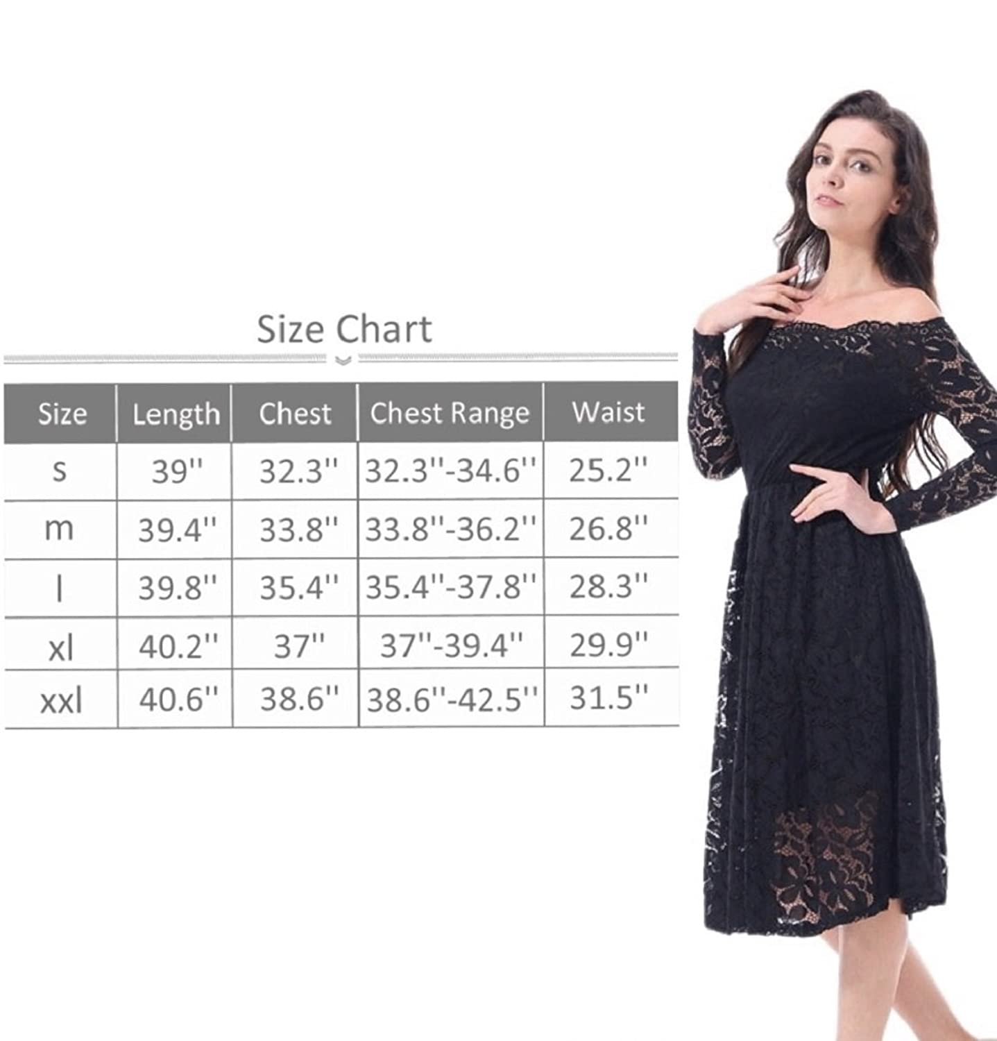 FOMANSH Women\'s Cocktail Dress Long Sleeve Lace Party Dresses Off ...