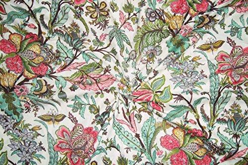 by Yard Batik Hand Block Print Fabric Handmade New Sanganeri Hand Block Print Fabric Cotton Fabric Multi Color Pure Cotton Fabric Sanganeri Fabric Indian Cotton Block Print - Print Hand Block