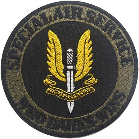 Ohrong Parche Redondo para Airsoft SAS, Bordado con el Logotipo del Equipo de Aire Especial Que se atreve a Ganar el Parche táctico Morale, Insignia de Paintball con Bordado de Gancho y